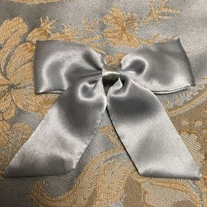 Blue Grey Satin Hair Bow